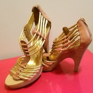 Sexy Gold & Tan Heels by Fergie